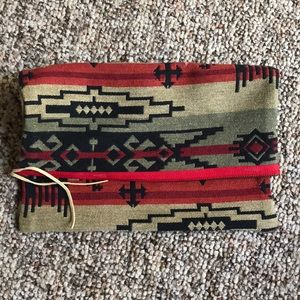 Tribal print fabric clutch